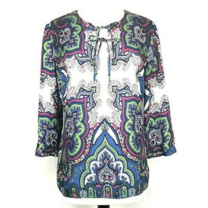 Details about  Talbots Silk Top Paisley Peasant